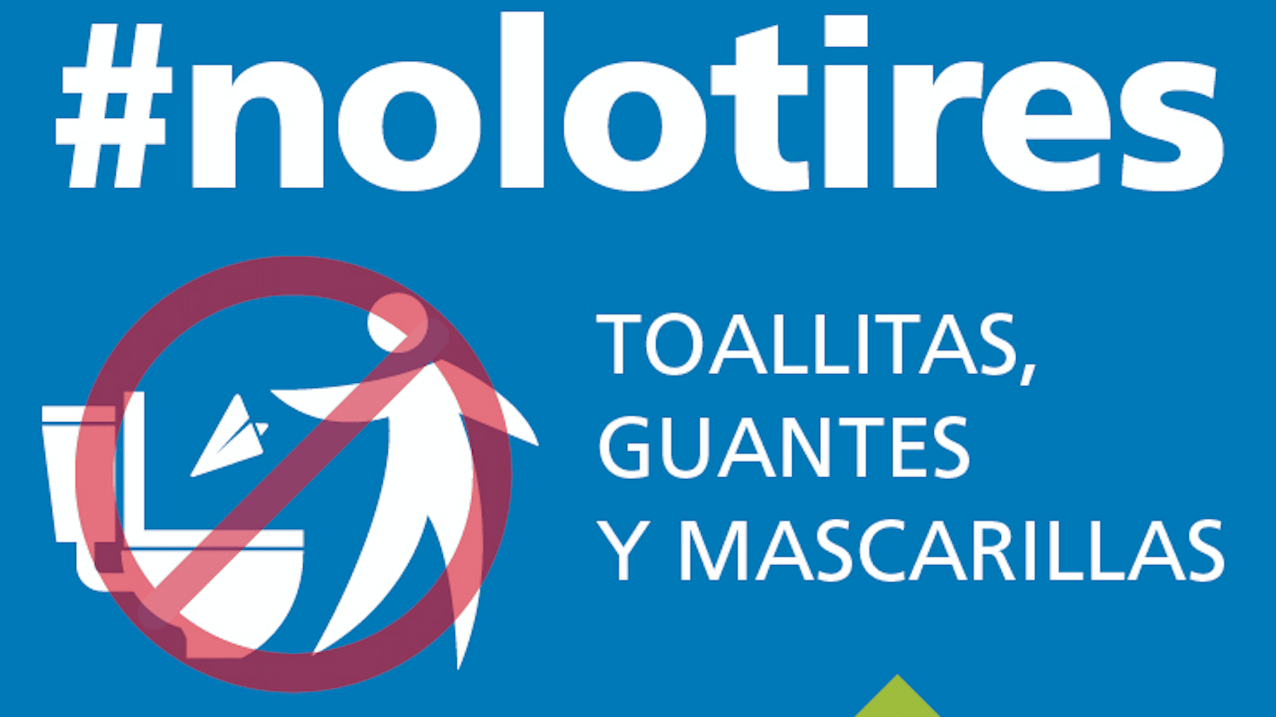 Cartel no tires toallitas ni mascarillas Aqualia